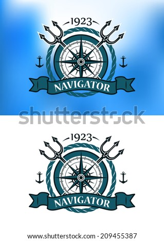 Marine heraldic label with anchors, compass, trident and ropes for nautical and logo design - stock vector