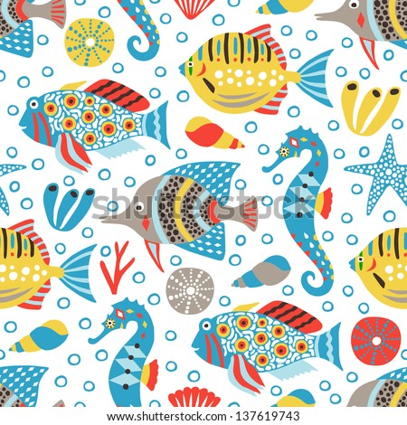 marine life seamless background - stock vector