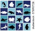 marine life set - stock vector