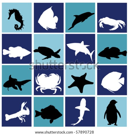 marine life set - stock vector