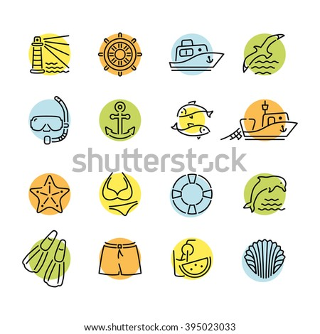 Marine line icon color in circle logo, logotype. Dolphin and lighthouse, seagull bird, boat ship, fishing fish. Anchor starfish swimsuit shorts fins, steering wheel lifebuoy watermelon, shell - stock vector