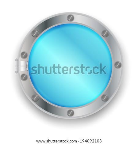 Marine metal porthole.vector illustration - stock vector