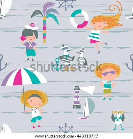 Marine seamless background for children - stock vector