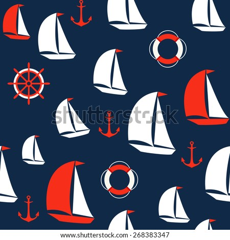 Marine seamless background. Vector pattern - stock vector