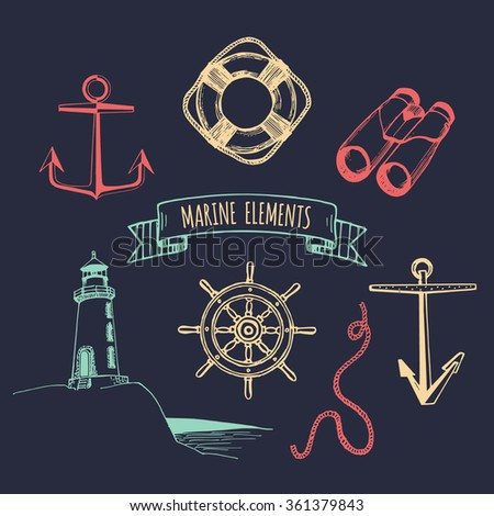 Marine set. Vector nautical elements. Hand drawn nautical set.  Sea illustrations hand sketched. Vintage nautical adventures set. Marine sketches collection. Nautical design elements - stock vector