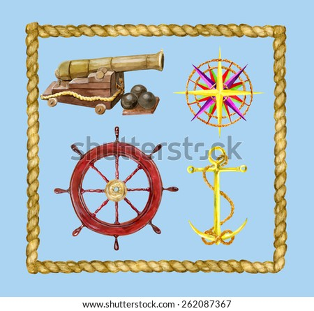 Marine set with nautical objects and rope frame, hand drawn design elements - stock vector