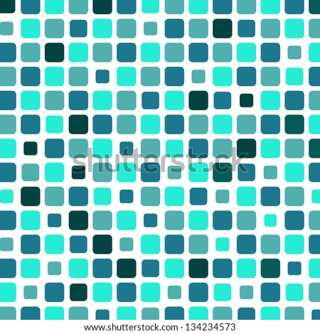 Marine square tile mosaic background, vector illustration - stock vector