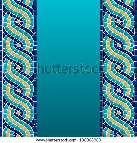 Marine style wave mosaic seamless pattern background. Vector file layered for easy manipulation and custom coloring. - stock vector
