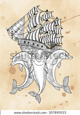 Marine symbol with three dolphins and ship, hand drawn illustration with engraved elements - stock vector