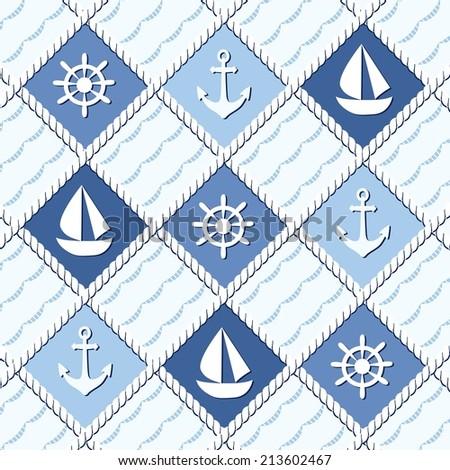 Marine theme. Blue sea seamless pattern - stock vector