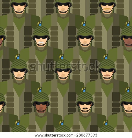 Marines seamless pattern. Soldiers in helmets and bullet-proof vests. Military people vector illustration. US Army. - stock vector