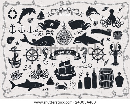 Maritime Clip Art - Set of nautical icons and design elements, including pirate flag, ship wheel, seahorse, sailing ships, octopus, seashells, whale, shark and dolphin; black and white - stock vector