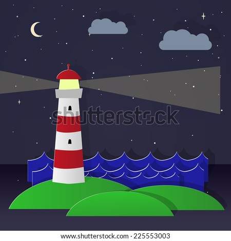 Maritime lighthouse. NIght. Vector image - stock vector