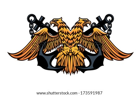 Maritime or nautical emblem logo with a double headed eagle with outspread wings over a crossed pair of anchors, cartoon vector illustration on white - stock vector