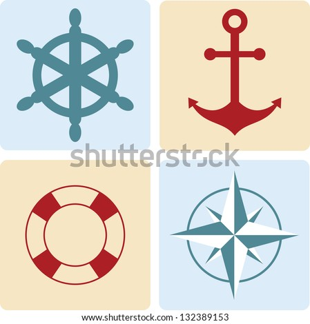 maritime symbols: anchor, life buoy, the wind rose, the steering - stock vector