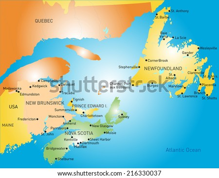 Maritime vector provinces color map - stock vector