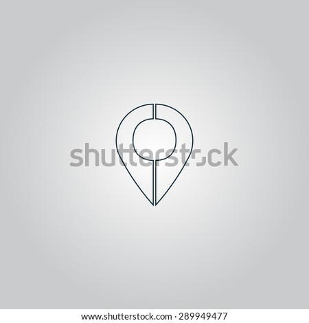 Mark pointer. Flat web icon or sign isolated on grey background. Collection modern trend concept design style vector illustration symbol - stock vector
