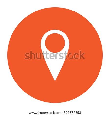 Mark, pointer. Flat white symbol in the orange circle. Vector illustration icon - stock vector