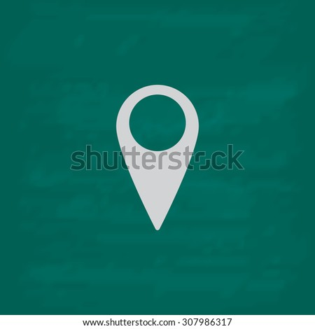 Mark, pointer. Icon. Imitation draw with white chalk on green chalkboard. Flat Pictogram and School board background. Vector illustration symbol - stock vector