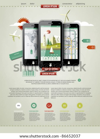 mark up a page with three mobile phones - stock vector