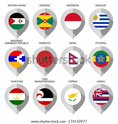 Marker from paper with flag for map - set fifteen - stock vector