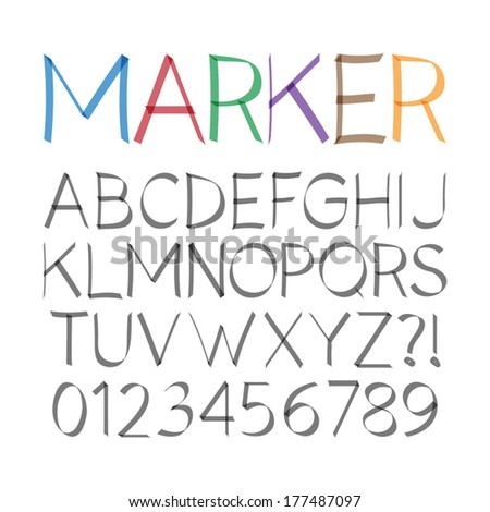 Marker Pen Font and Numbers, Eps 10 Vector Editable - stock vector