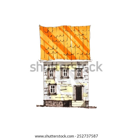 Marker sketch of old european house on white background.  Facade. Hand drawn vector illustration. - stock vector