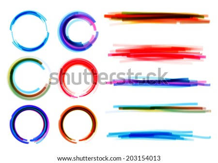 Marker Strokes and circles - stock vector