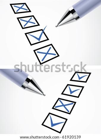 Markers blue ballpoint pen on white paper - stock vector