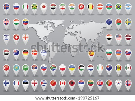 Markers with flag for map, vector illustration  - stock vector
