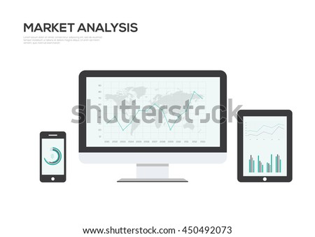 Market Analsys IT Industry Infographic Elements vector illustration. World Map and Information Graphics   - stock vector