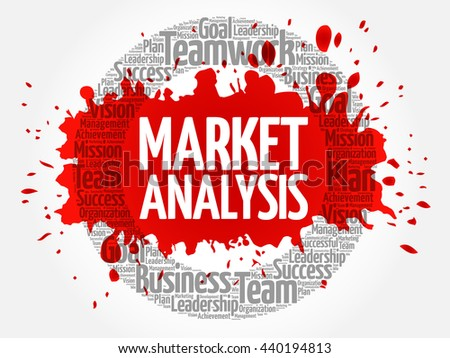 Market Analysis circle word cloud, business concept - stock vector