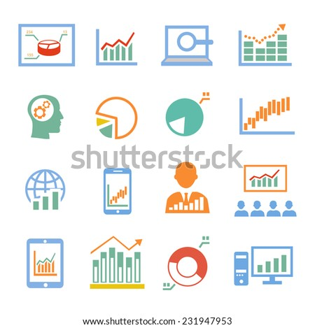 Market analysis statistics, business diagrams icons colored - stock vector