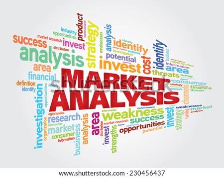 Market Analysis word cloud background - stock vector