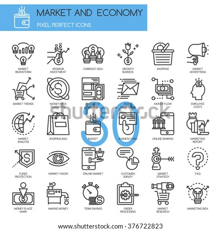 Market and Economy, thin line icons set - stock vector