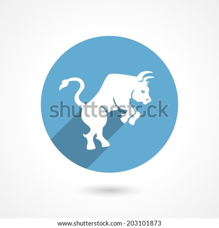 Market Bull icon or logo in flat style vector illustration - stock vector