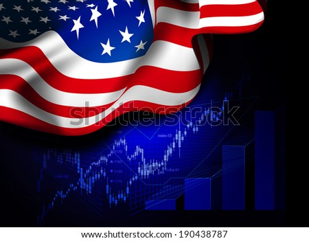 Market Financial Data with flag of USA, as an indicator of changes in the economy. Vector illustration - stock vector