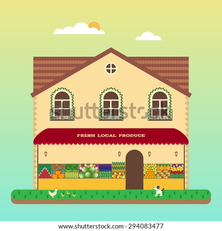 Market of fresh locally grown produce from farmer. Organic vegetables and fruits. Quality ingredients for your healthy eating. Vector flat illustrations - stock vector