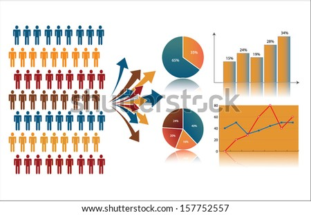 Market research and statistics, symbolized by population (or consumers) described through charts  - stock vector