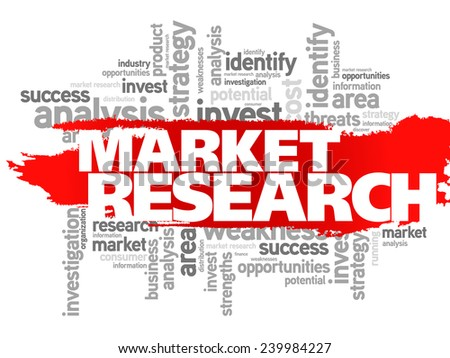 Market research concept vector word cloud - stock vector