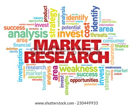 Market research concept vector word cloud background - stock vector