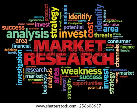 Market research word cloud, business concept - stock vector