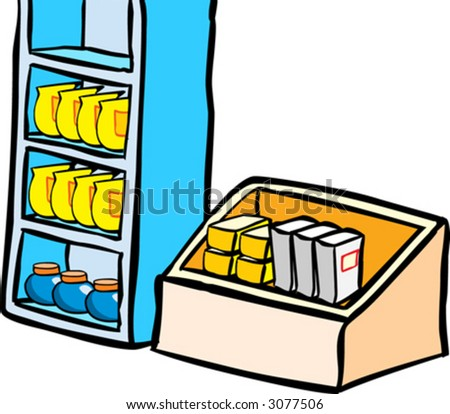 Market shelf - stock vector