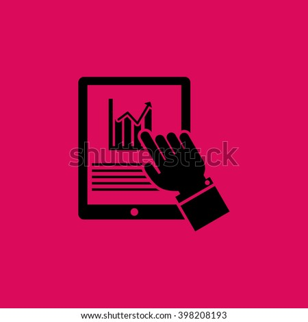 Market Status on Tablet Mobile Phone Icon. Eps-10. - stock vector