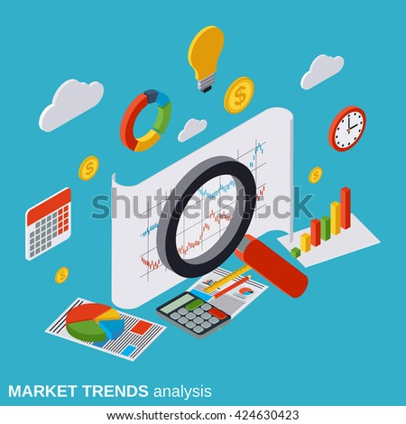 Market trends analysis, financial statistics, business report, modern infographic flat isometric vector concept illustration - stock vector