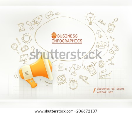 Marketing and promotion, business infographics vector set - stock vector