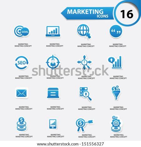 Marketing icons,Blue version,vector - stock vector