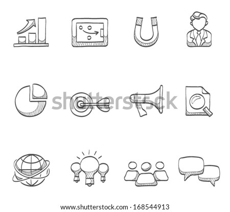 Marketing icons in sketch. - stock vector