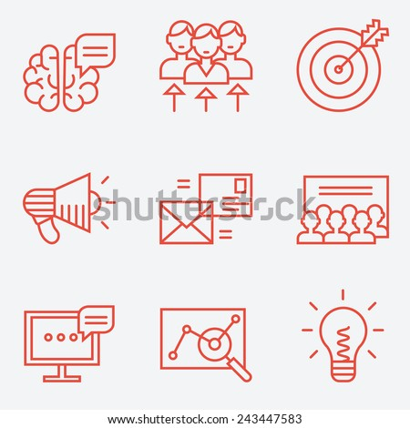 Marketing icons, thin line style, flat design - stock vector