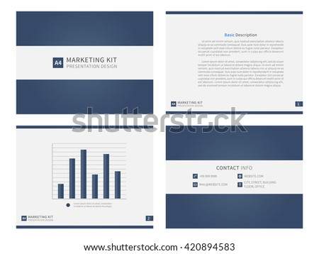 Marketing kit presentation vector template. Modern business presentation creative design. Power layout with diagrams and charts. Marketing kit visualization template. Easy to use, edit and print.  - stock vector